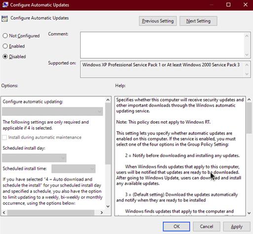 mematikan update windows 10 professional