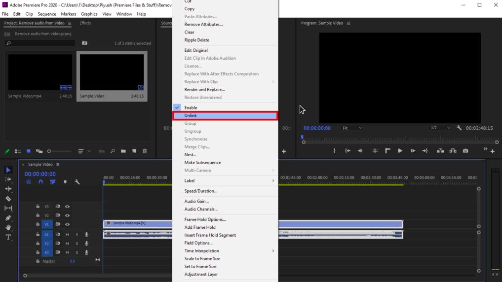 cara menghilangkan audio di video dengan adobe premiere pro